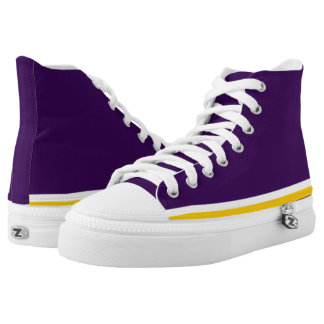 Lila mit Weiß und Goldordnung Hallo-Spitze Hoch-geschnittene Sneaker