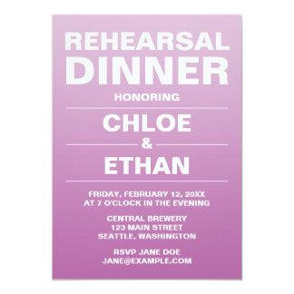 Lila Ombre Hochzeits-Proben-Abendessen-Einladungen Karte