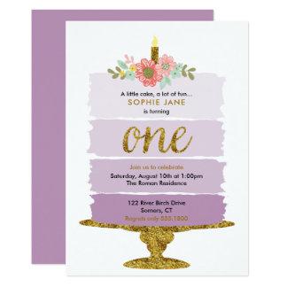 Lila Ombre Kuchen-erste Geburtstags-Einladung 12,7 X 17,8 Cm Einladungskarte