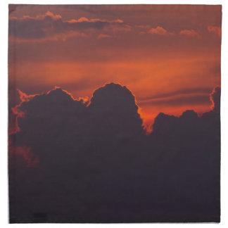 Lila orange Sonnenuntergangwolken Serviette