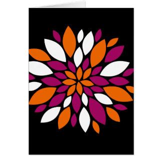 Lila orange weiße Blumen-Blumenblatt-Kunst auf Karte