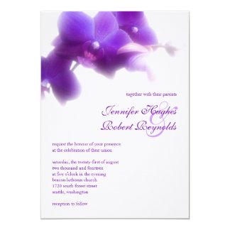 Lila Orchideen-Hochzeits-Einladung Karte