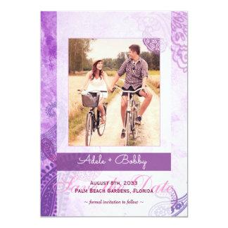 Lila Paisley-Hochzeits-Foto Save the Date 12,7 X 17,8 Cm Einladungskarte