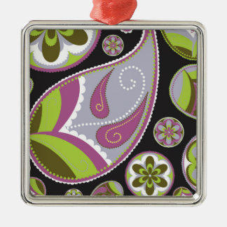 Lila Paisley-Muster Silbernes Ornament