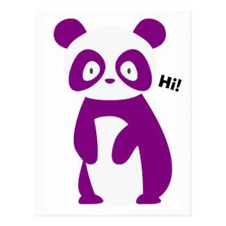 Lila Panda-Sprichwort hallo! Postkarte