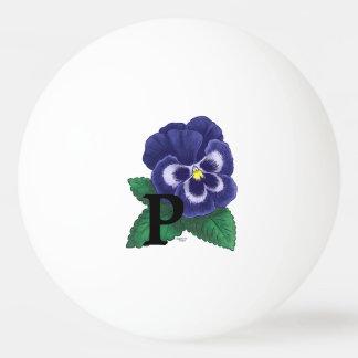 Lila Pansy-personalisiertes Blumenmonogramm Ping-Pong Ball