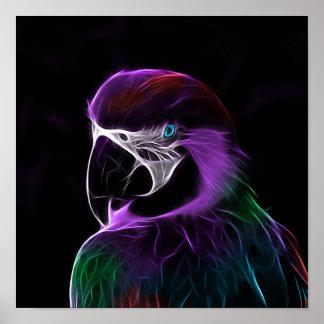 Lila Papageien-Fraktal Digital Poster