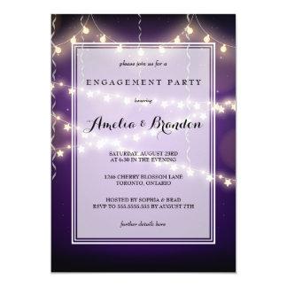 Lila Party-Starry Licht-Verlobung 12,7 X 17,8 Cm Einladungskarte