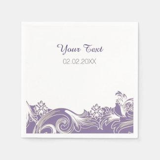 lila personalisierte Hochzeitsmit blumenservietten Serviette