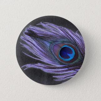 Lila Pfau-Feder auf Schwarzem Runder Button 5,1 Cm