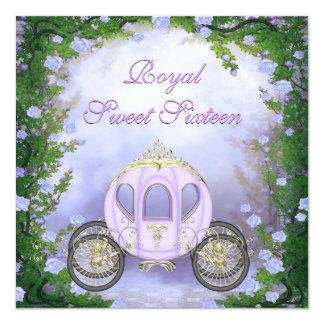 Lila Prinzessin Carriage Enchanted Sweet 16 Quadratische 13,3 Cm Einladungskarte