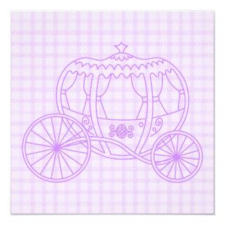 Lila Prinzessin Coach auf Karo-Muster Quadratische 13,3 Cm Einladungskarte
