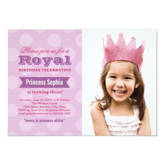 Lila Prinzessin der Foto-Geburtstags-Party 12,7 X 17,8 Cm Einladungskarte