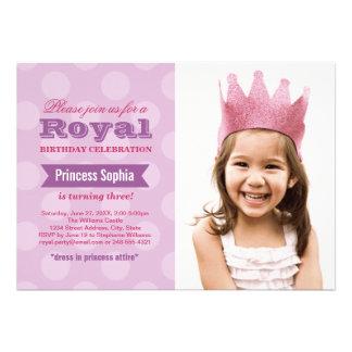 Lila Prinzessin der Foto-Geburtstags-Party Einladu Einladungskarten