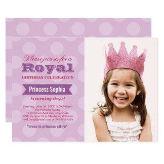 Lila Prinzessin der Foto-Geburtstags-Party Karte