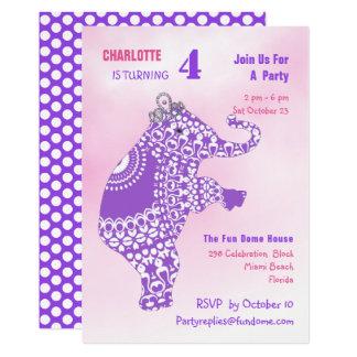Lila Prinzessin Elephant Birthday Party Editable Karte
