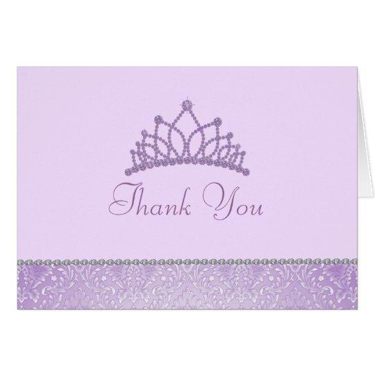 Lila Prinzessin Thank You Card Mitteilungskarte