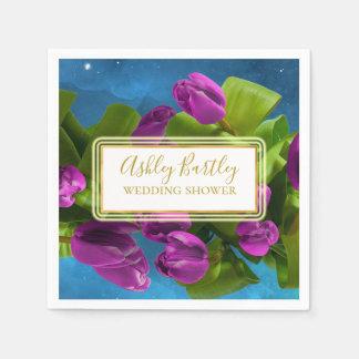 Lila Raum-Tulpen und glühender Aufkleber Papierservietten