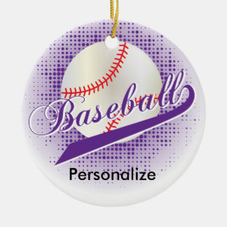 Lila Retro Baseball-Art Rundes Keramik Ornament