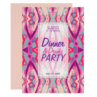 Lila rosa Aqua Boho Chic-Abendessen trinkt Party 12,7 X 17,8 Cm Einladungskarte