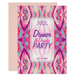 Lila rosa Aqua Boho Chic-Abendessen trinkt Party Karte