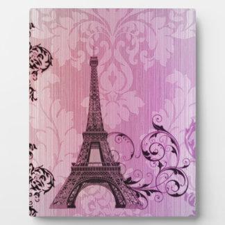 lila rosa Damast Girly Turm Paris Eiffel Fotoplatte
