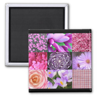 Lila/rosa Foto-Collage Quadratischer Magnet