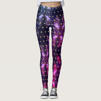 Lila rosa Leidenschafts-Metallfunken + Leggings
