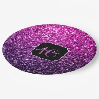 Lila rosa Ombre Glitter-Glitzern Bonbon 16 Pappteller