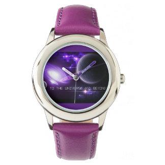 Lila rostfreier Stahl scherzt Uhr-Universum u. Armbanduhr