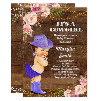 Lila rustikale Cowgirl-Baby-Duschen-Karte Karte