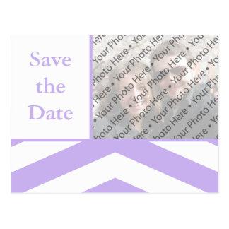Lila Save the Date Wedding Foto-Postkarte Postkarte