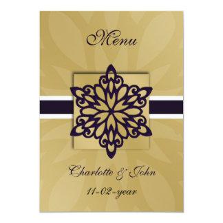 lila Schneeflockewinter-Hochzeitsmenü Einladung