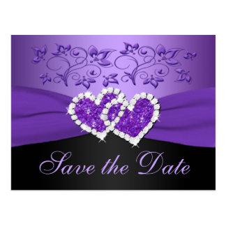 Lila schwarze Blumenherz-Save the Date Postkarte