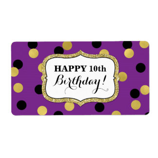 Lila schwarze Goldconfetti-Geburtstags-Aufkleber