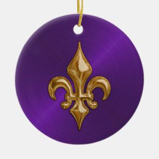 Lila Sheen- und GoldLilie Rundes Keramik Ornament