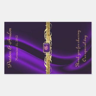 Lila Silk Goldrolle-Hochzeits-Wein-Aufkleber Rechteckiger Aufkleber