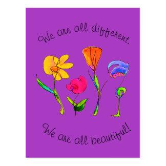 Lila sind wir alle unterschiedliches u. schönes postkarte
