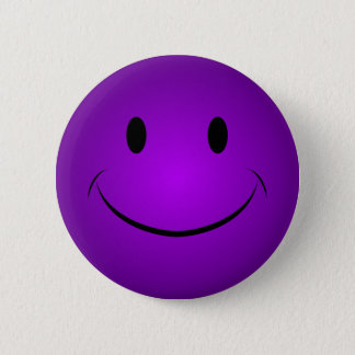 Lila smiley-Knopf Runder Button 5,7 Cm