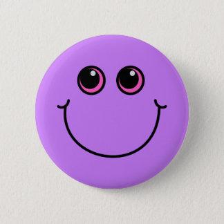 Lila Smiley Runder Button 5,1 Cm