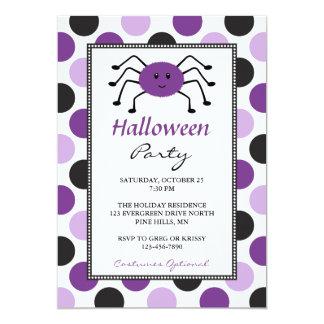 Lila Spinnen-Halloween-Party-Einladungen Karte
