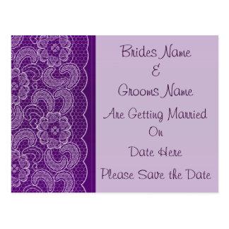 Lila Spitze, die Save the Date Wedding ist Postkarten