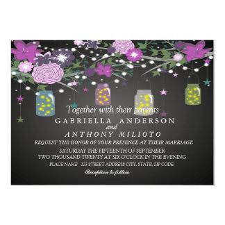 Lila Starry Nacht mit Maurer-Glas-Hochzeits-Karte 12,7 X 17,8 Cm Einladungskarte