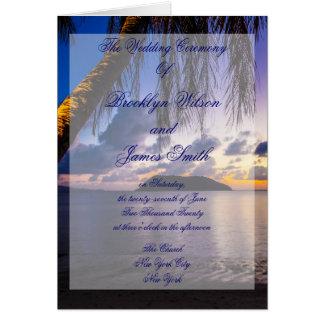 Lila Strand-Hochzeits-Zeremonie-Programme Mitteilungskarte