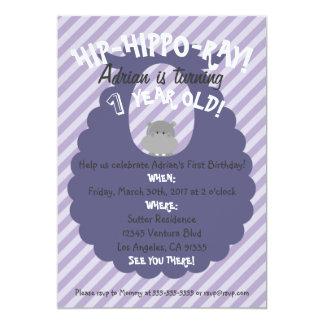 Lila Streifen Angesagt-Flusspferd-Strahl erste 12,7 X 17,8 Cm Einladungskarte