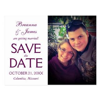 Lila Strudel-Save the Date Foto-Karte Postkarte