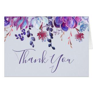 Lila Succulents danken Ihnen zu kardieren Karte