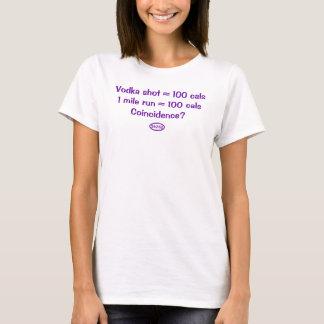Lila Text: Wodka schoss = 100 Kalorien = 1 Meile T-Shirt