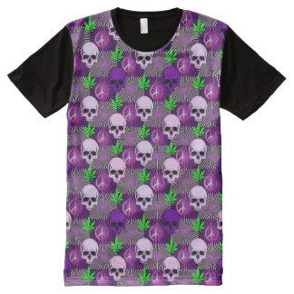 Lila Topf-Friedensschädel T-Shirt Mit Bedruckbarer Vorderseite