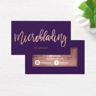 Lila Traube der Microblading Rosengoldtypographie Visitenkarte
